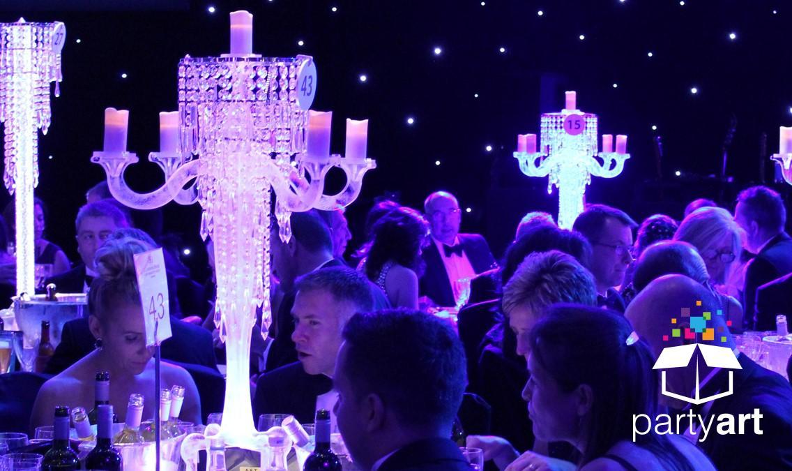 classy candelabra centrepiece hire