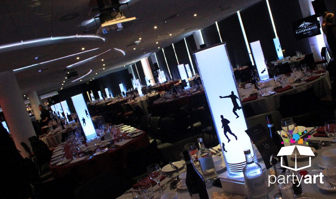 custom football led table centrepieces for hire