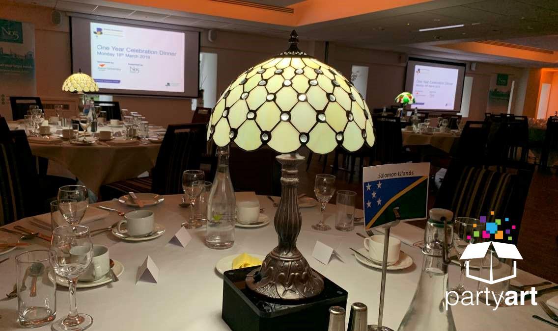 led lamp centrepieces hire