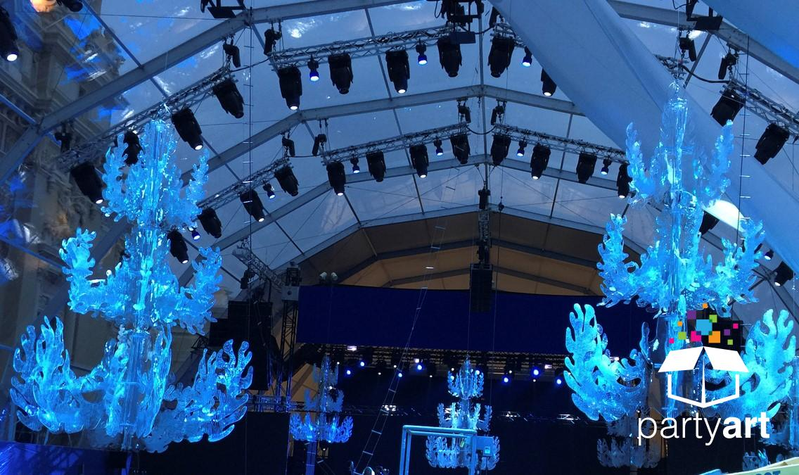 LED chandelier event hire