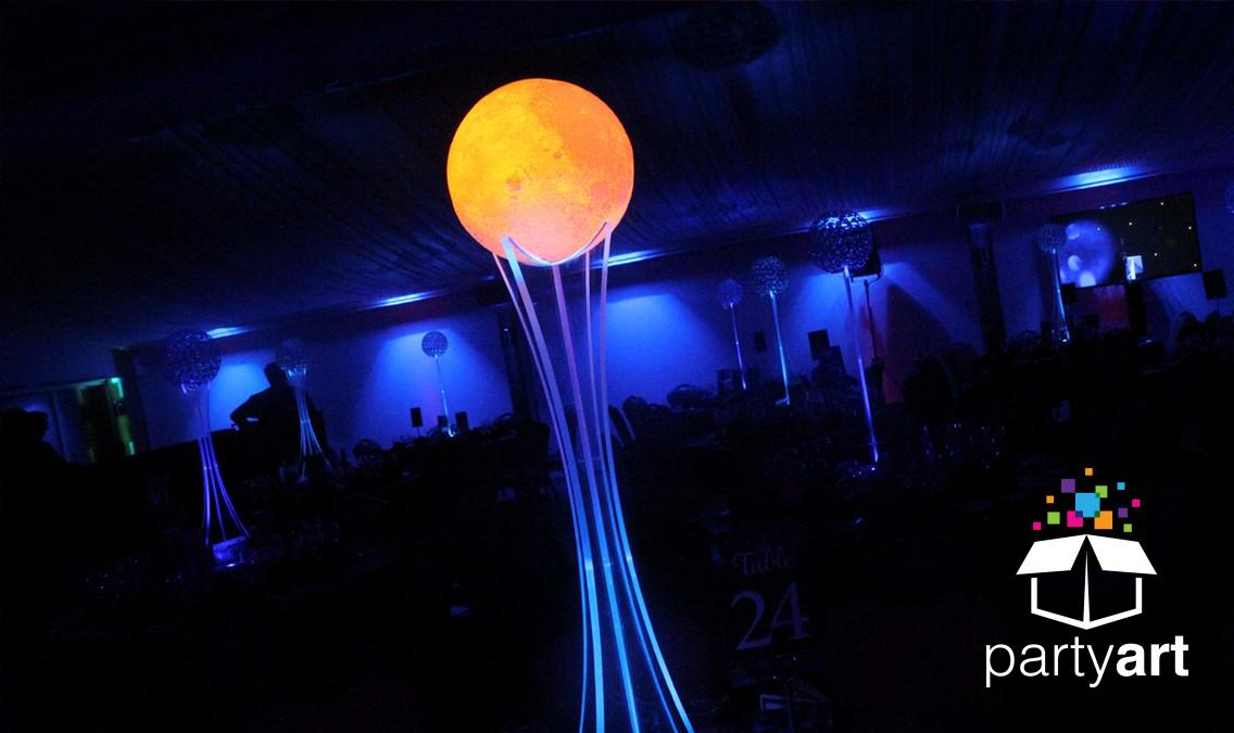 LED moon space centrepieces
