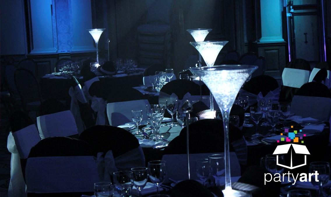 Martini lit table centres
