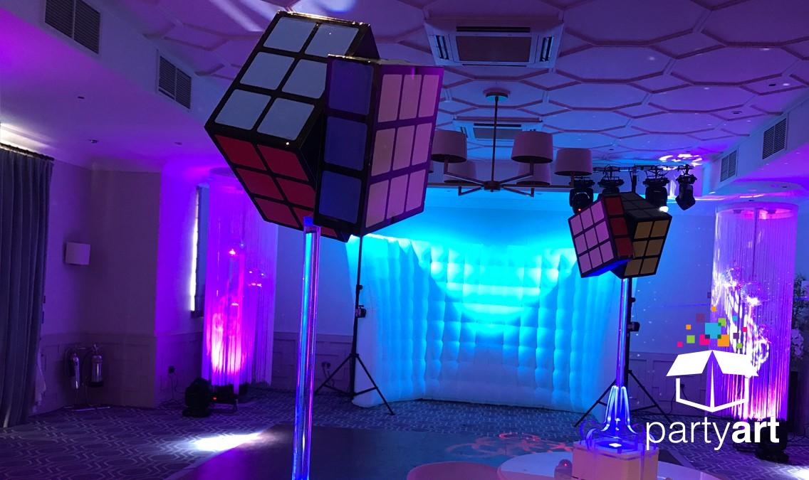 Rubiks cube 80s themed party
