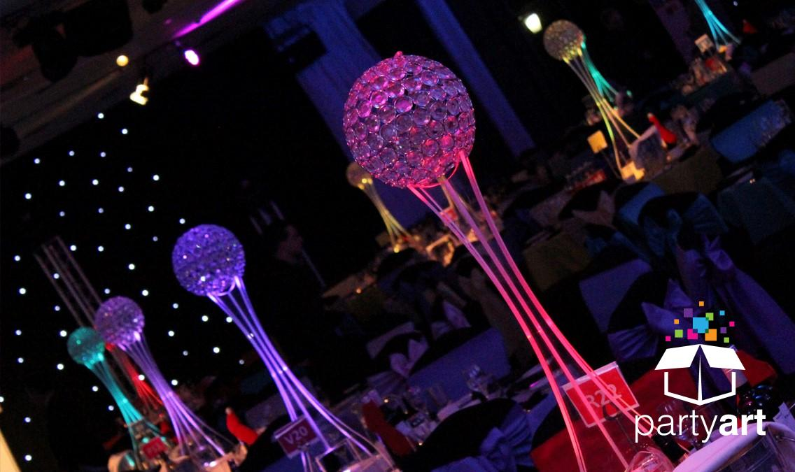 crystal led centrepiece hire