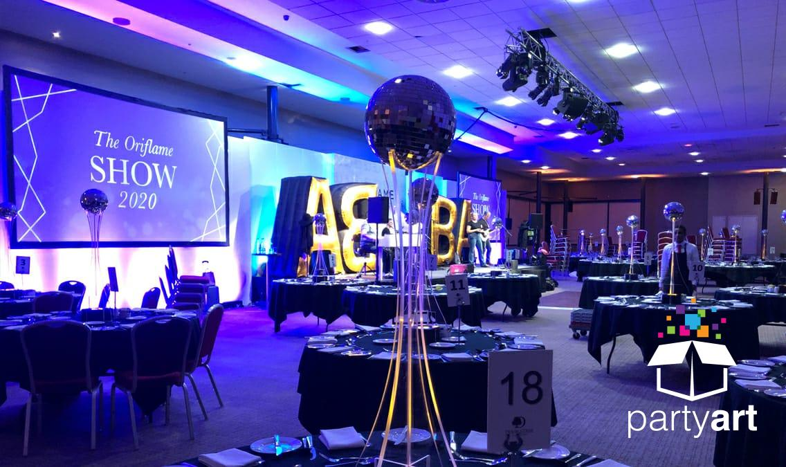 mirror ball led table centres